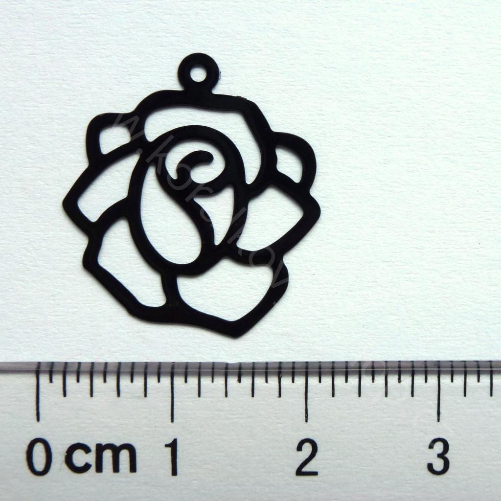 Tvarovaný lakovaný plech - černá růže