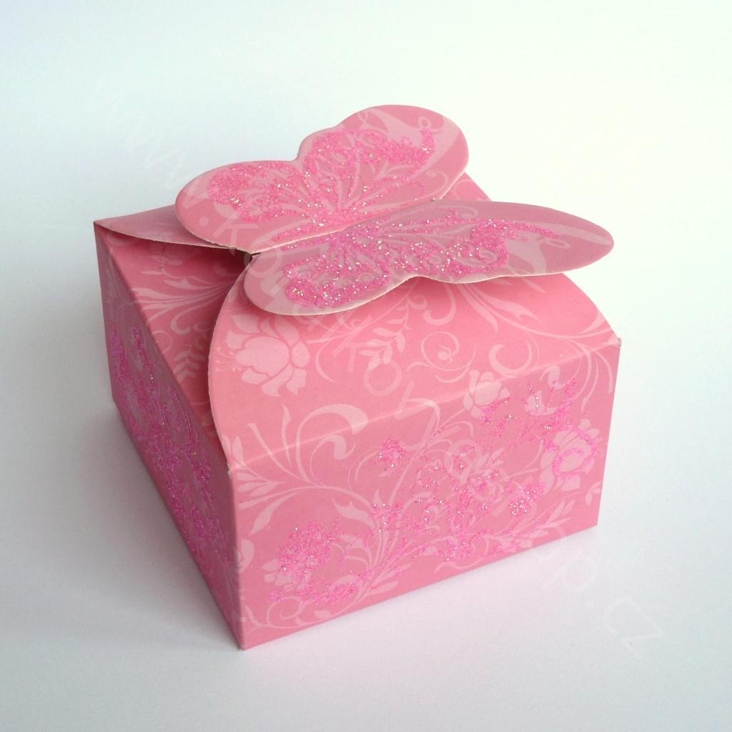 Papírová krabička - motýl - Růžová
