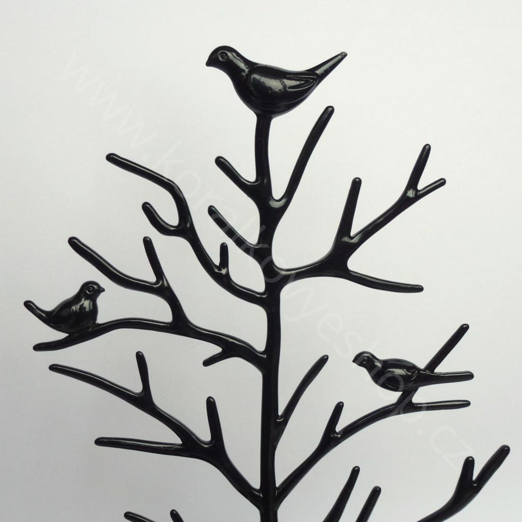 Stojánek na šperky - kovový strom - černá