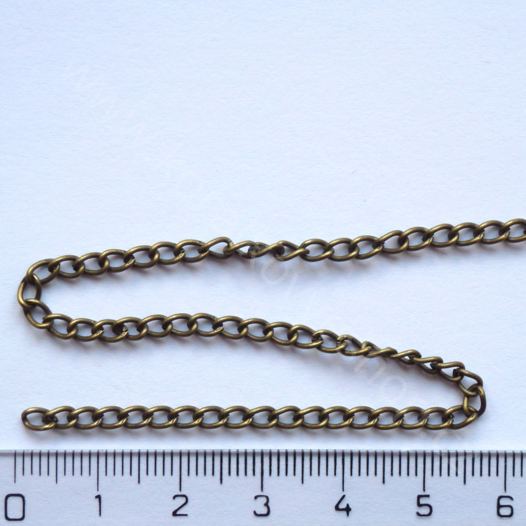 Řetízek - bronzový - 4 mm