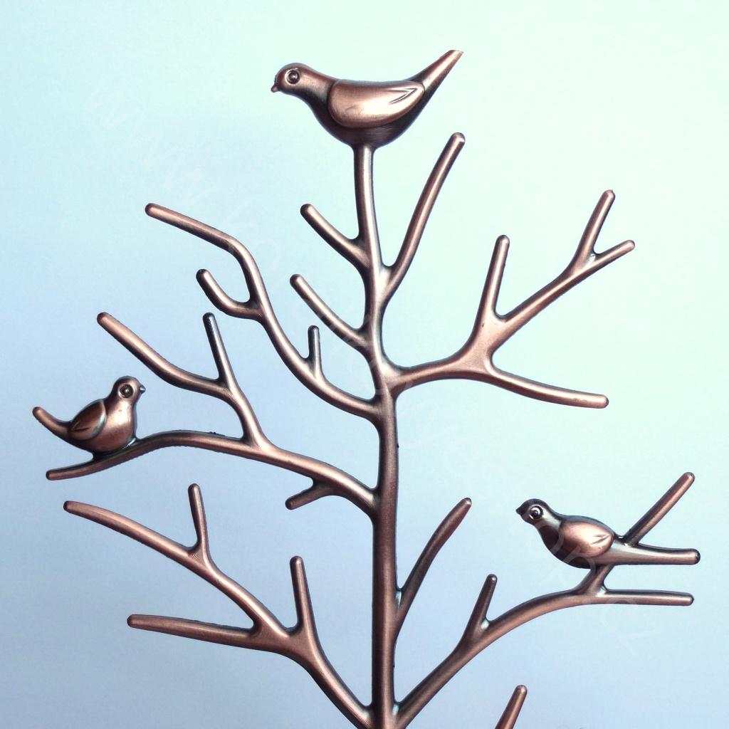 Stojánek na šperky - kovový strom - bronzová