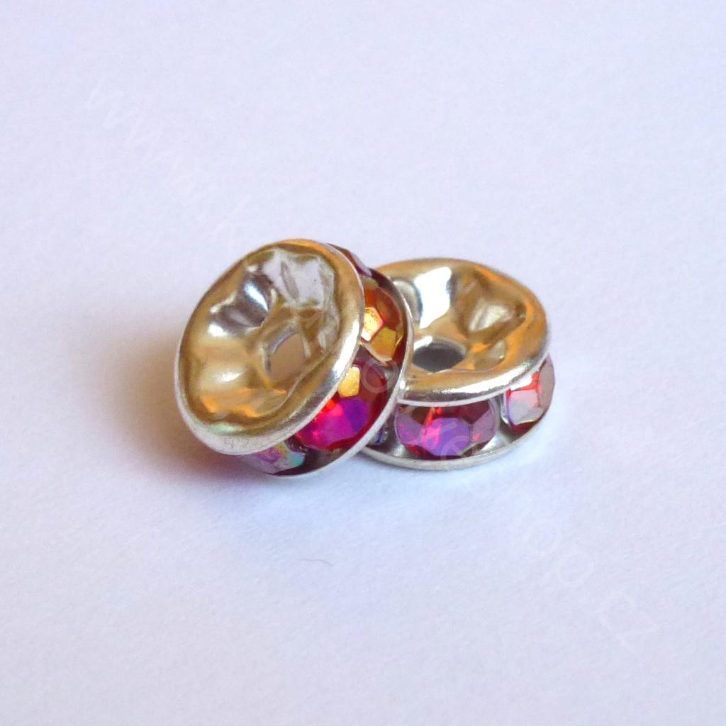 Rondelka kulatá s růžovým kamínkem